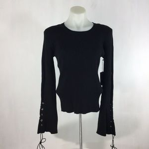Vince Camuto Sweater Lace-Up Long Bell Sleeve